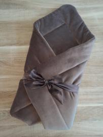 Babywrap deken nicky velours met satijnen strik