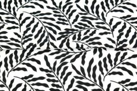 Katoen bladeren wit/zwart