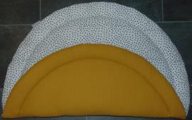 (V) Boxkleed rond wafelkatoen oker/katoen nopjes wit/zwart 95 cm