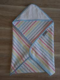 (V) Omslagdoek pop badstof pastel gestreept met lichtblauw