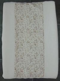 Aankleedkussenhoes wafelkatoen/katoen met gedroogde bloemen lichtbruin