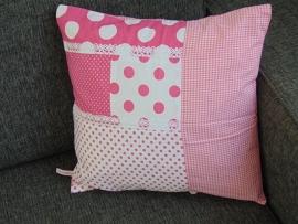 (V) Kussenhoes roze/wit 40 x 40 cm