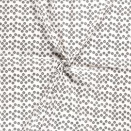 Aanbieding! Hoeslaken rond boxmatras hydrofielstof bloemetjes off-white/zwart