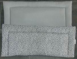 (V) Bokleed katoen panter/wafelkatoen grijs 80 x 100 cm