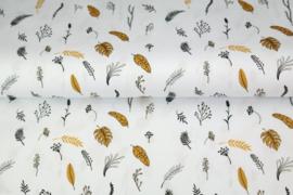 Katoen veren/bladeren wit/zwart/oker