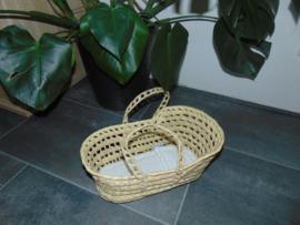 (V) Mini reiswieg met matras en kussen off-white/goud
