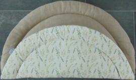 Boxkleed rond linnen/katoen eucalyptus off-white/groentinten