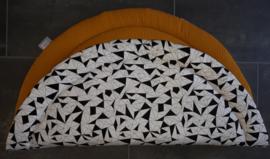 Boxkleed rond wafelkatoen/poplin fantasie wit/zwart