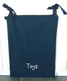 (V) Boxzak canvas geborduurd 'Toys' donkerblauw/grijs