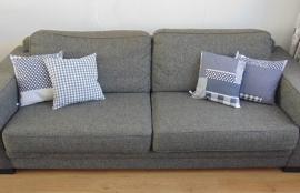 (V) Kussenhoesjes (set van 4) patchwork/ruit 40 x 40 cm grijs