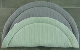(V) Boxkleed rond wafelkatoen oudmint/grijs 100 cm