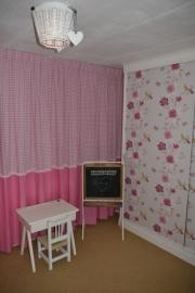 Gordijnen ruit / uni katoen roze