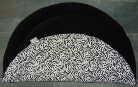 Boxkleed rond katoen bladeren wit-zwart/rib zwart