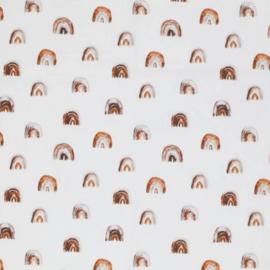 Poplin mini regenboogjes off-white/bruintinten