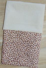(V) Dekbedovertrek nicky velours/panterprint beige/bruin 75 x 100 cm