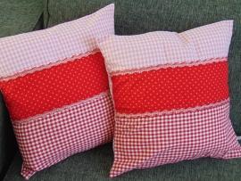 (V) Kussenhoesjes (set van 2) roze/rood 40 x 40 cm