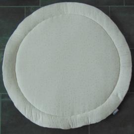 Boxkleed rond wafelkatoen /hydrofielstof stippen off-white/goud