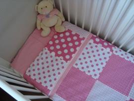 (V) Dekbedovertrek roze/wit 100 x 150 cm