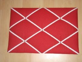 Memobord 40 x 60 cm stipjes rood/wit