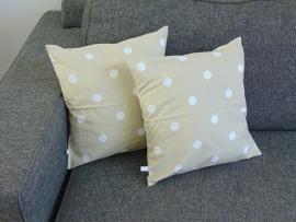 (V) Kussenhoesjes (set van 2) beige/wit 40 x 40 cm