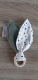 Houten ring konijnenoren/piepje nicky velours/katoen stippen off-white/multi