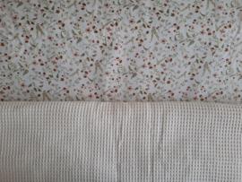 Boxkleed rond wafelkatoen/katoen kleine bloemetjes off-white