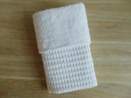 (V) Dekentje grof wafelkatoen/teddykatoen wit 60  x 80 cm
