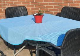 (V) Tafelkleed rond 140 cm geruit 0.4 cm turquoise