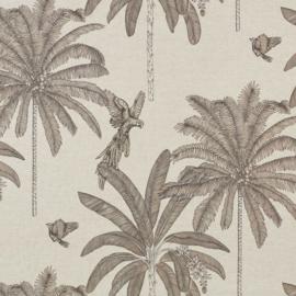 Geplastificeerd katoen zand met vogels en palmbomen