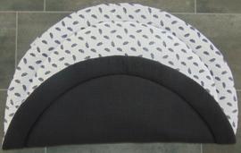 (V) Boxkleed rond wafelkatoen zwart/poplin veertjes wit/zwart 95 cm