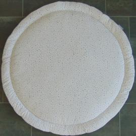 Boxkleed rond wafelkatoen/poplin confetti wit/oudgroen/oudroze/grijs