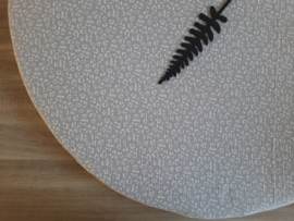 (V) Hoeslaken rond boxmatras hydrofielstof panterprint lichtgrijs 90 cm