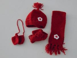(V) Wintersetje voor de pop rood/wit