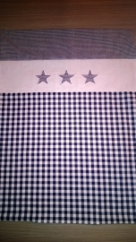 (V) Dekbedovertrek 60 x 80 cm ruit/uni/ster donkerblauw