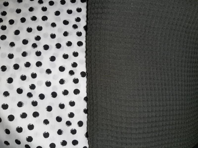 Aankleedkussenhoes wafelkatoen/katoen nop wit/zwart