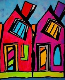 vibrantly coloured houses-