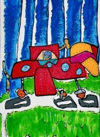 Nieuw, Schilderij -doek, vliegtuig the red barron