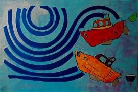 vekocht---boten in de baai van Damgan Bretagne/frankrijk
