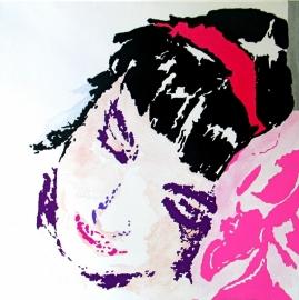 VERKOCHT---portret van slapende vrouw