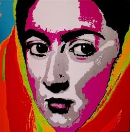 verkocht---portret van een vrouw met hoofddoek