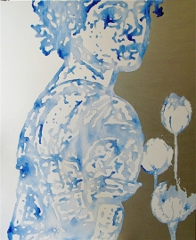 verkocht--vrouw met tulpen/delfts blauw