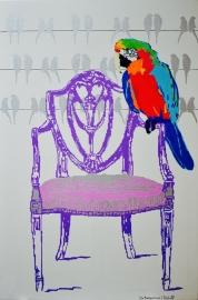 Nieuw= Schilderij stoel met pappegaai