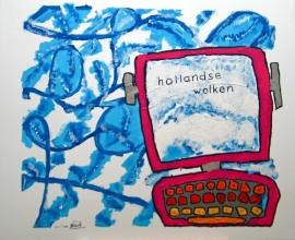 """Nieuw doek/schilderij by Prichard """"hollandse wolken"""""""