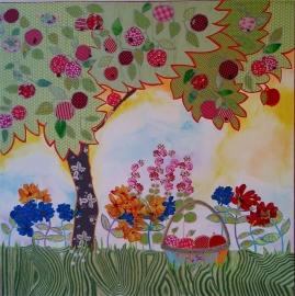 Nieuw--schilderij-- fruitboom met picnik mand