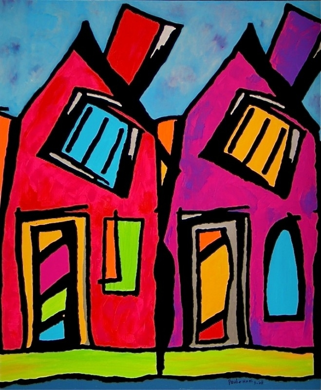 vibrantly coloured houses-