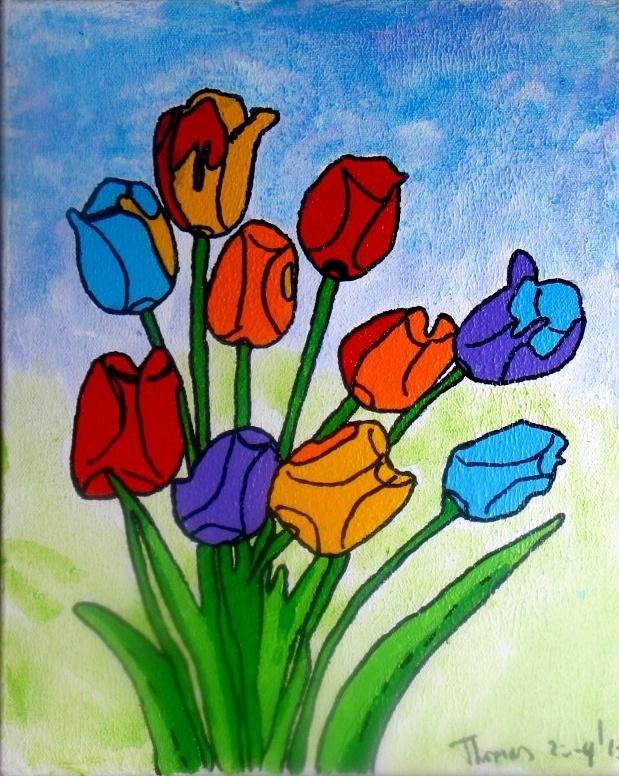 schilderij/doekje van 24 x 29 cm