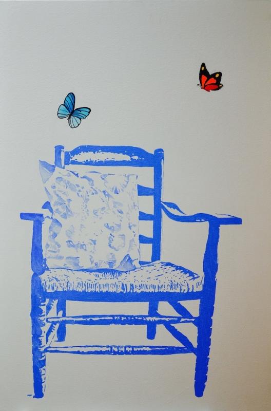 Nieuw - Schilderij chair blauw with butterflys
