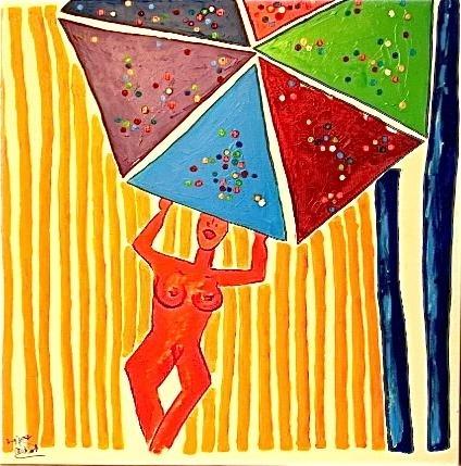 "Vrouw onder ""smarty`s"" parasol"