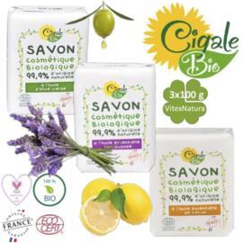 Økologisk æterisk citron, lavendel, olivenolie sæbe 3x100g