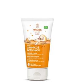 Weleda Kids 2 in 1 shampoo & body wash blije sinaasappel 150 ml.